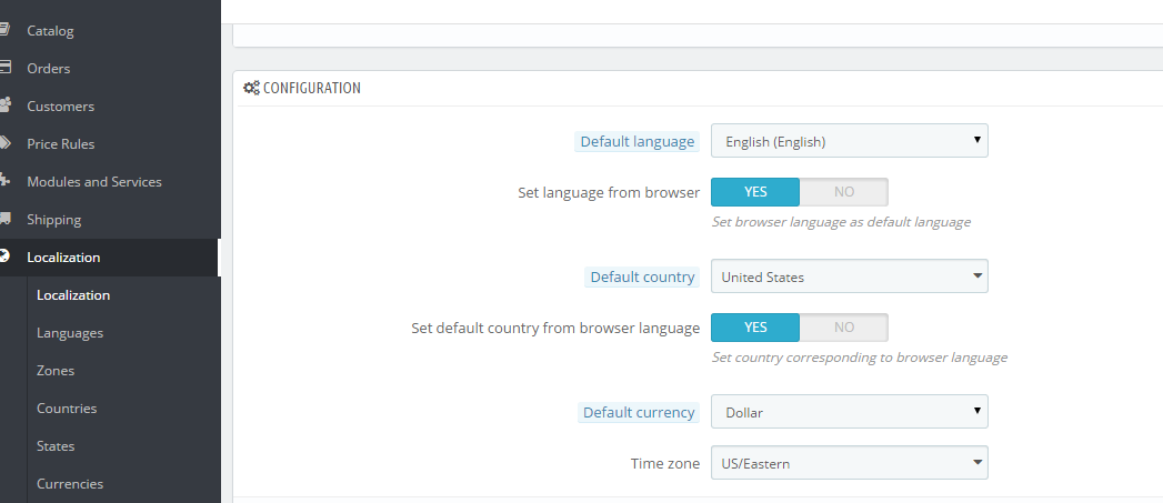 Changing Default Language, Country, Currency and Timezone in Prestashop