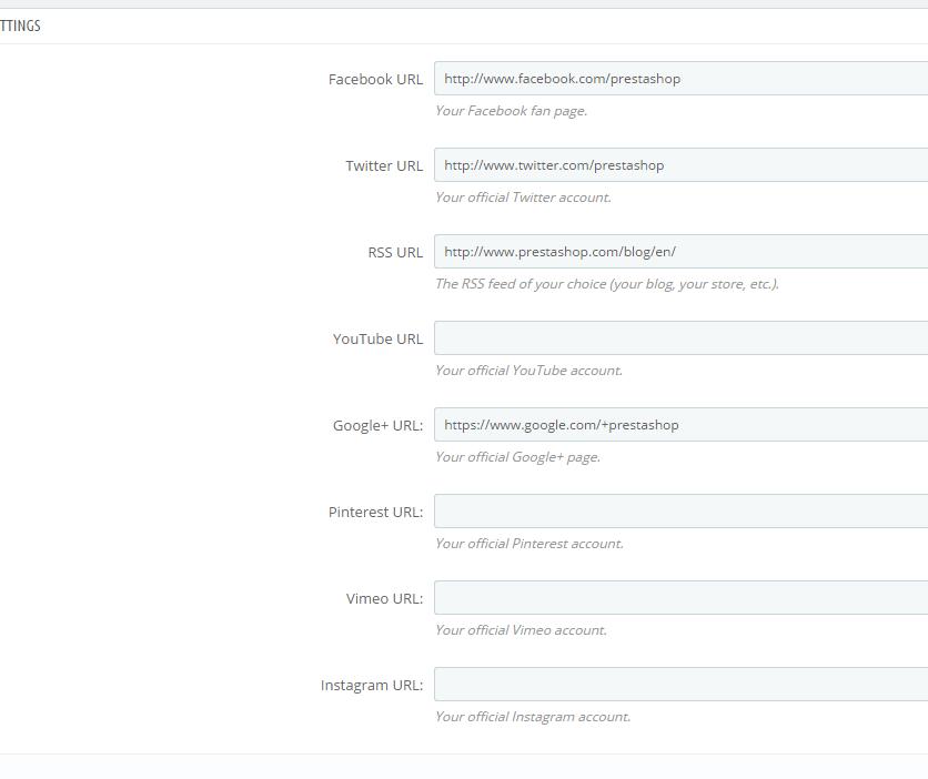 Prestashop Social Links Configuration