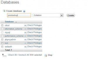 phpmyadmin Prestashop Database