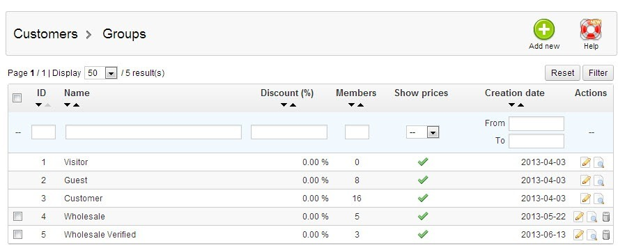 Prestashop Customer Groups