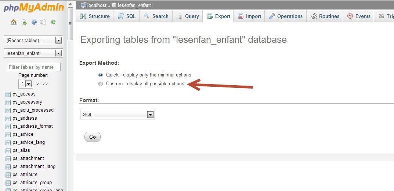 Prestashop Database Custom