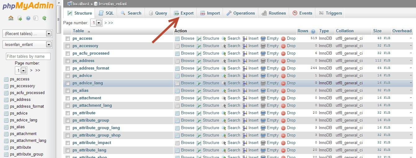 Prestashop Database Export
