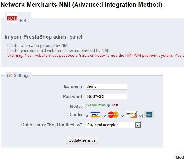 Prestashop NMI Payment Module