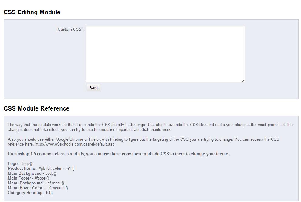 Prestashop Module CSS