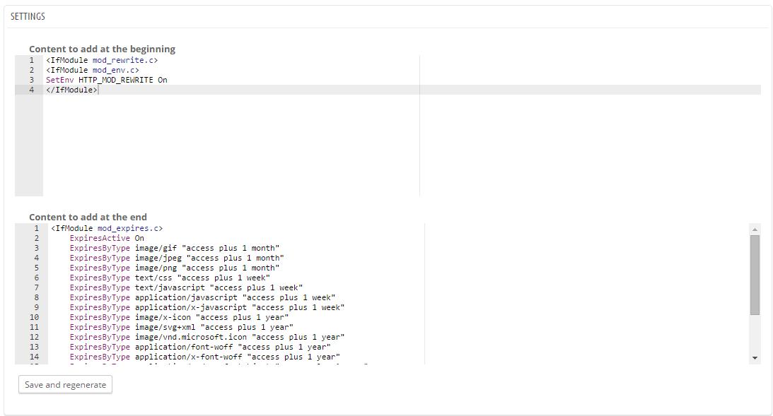 PrestaShop htaccess Editor