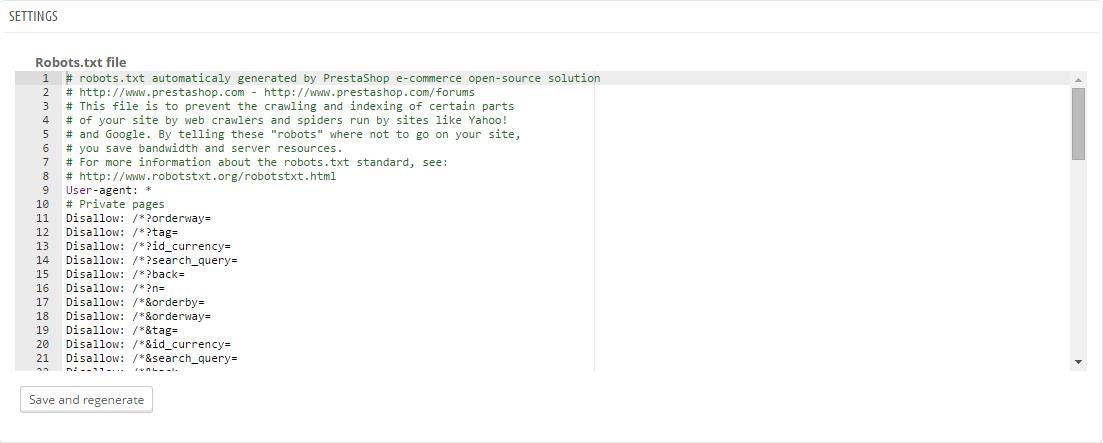 PrestaShop robots.txt editor