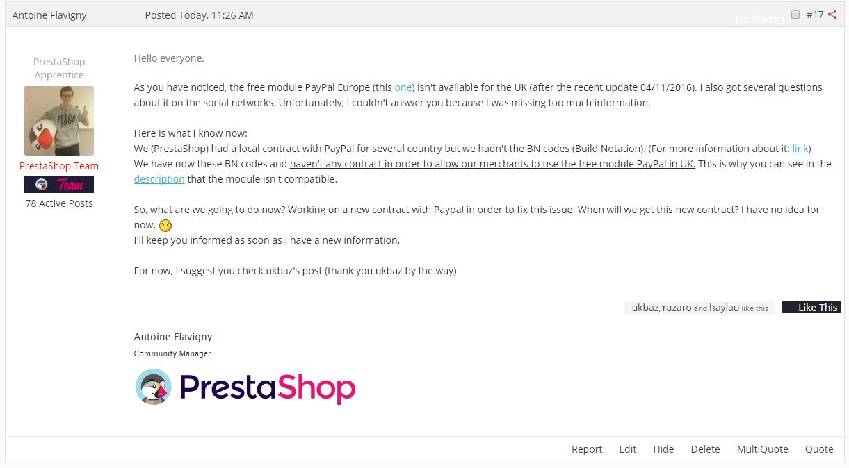 PrestaShop Forum