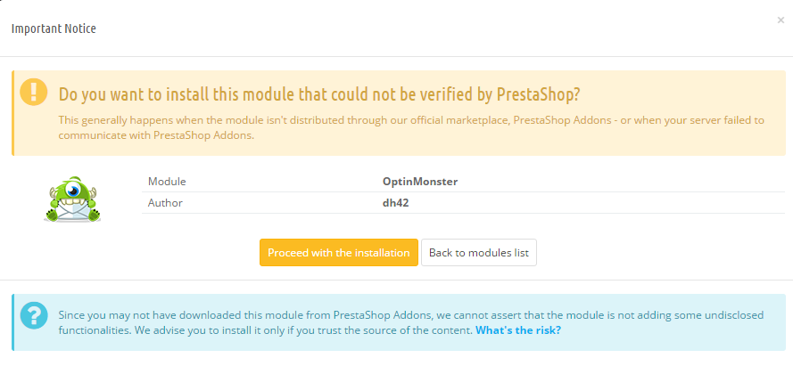 PrestaShop OptinMonster Popup